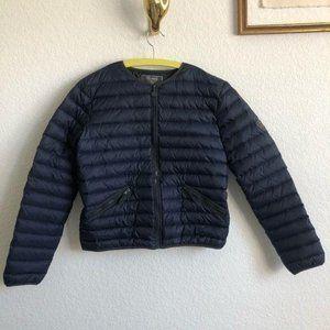Bonpint Collarless Logo Puffer Peplum Jacket